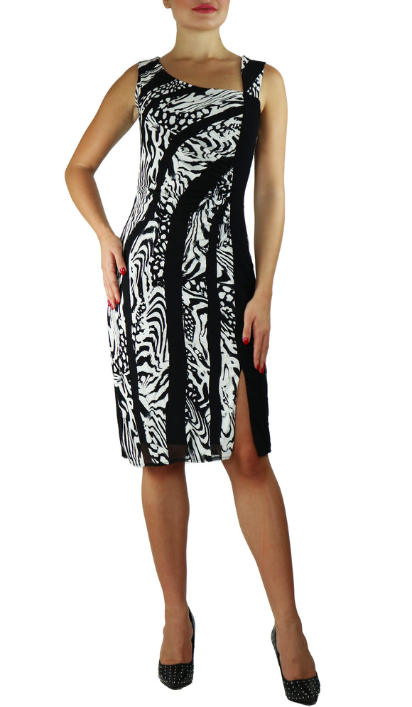 EFFIE Black and White Asymmetrical Neckline Dress With Slit