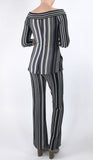 ELENORE Silky Stretchy Striped Metallic Flared Pants
