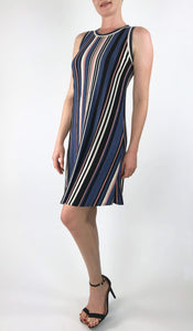 ELENORE Silky Stretchy Striped Metallic Sleeveless Flared Dress