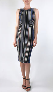 ELENORE Silky Stretchy Striped Metallic Sleeveless Dress