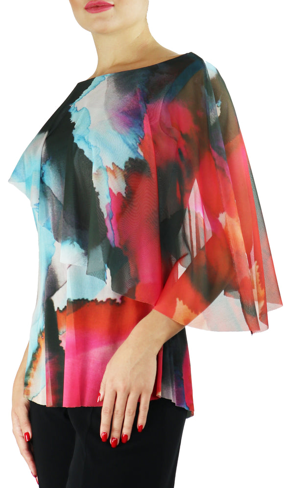 ELLA Butterfly Sleeve Overlay Print Top