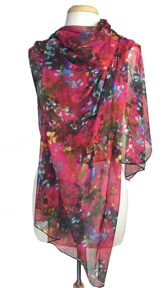 ENSLEY Long and Wide Print Mesh Shawl Stole Wrap