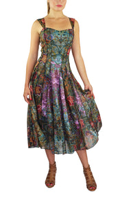 ESTHER Sleeveless Mid Calf Fit N Flare Vintage Print Mesh Dress