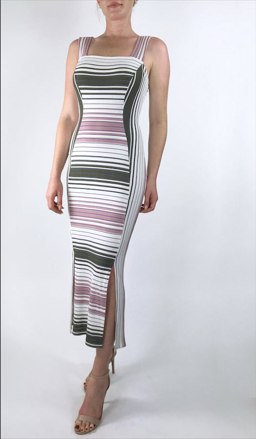 EVE Sleeveless Paneled Fitted Striped Mid Calf Dress