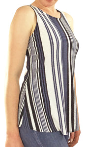 EUNICE Striped Tunic Stretchy Knit Flared Top