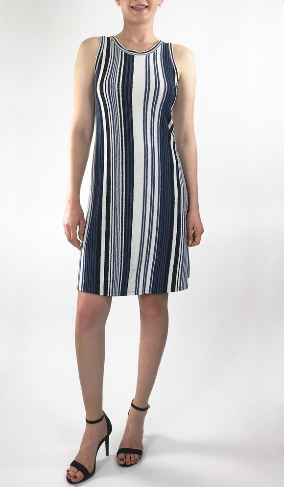 EUNICE Sleeveless Above Knee Length Crew Neck Striped Dress
