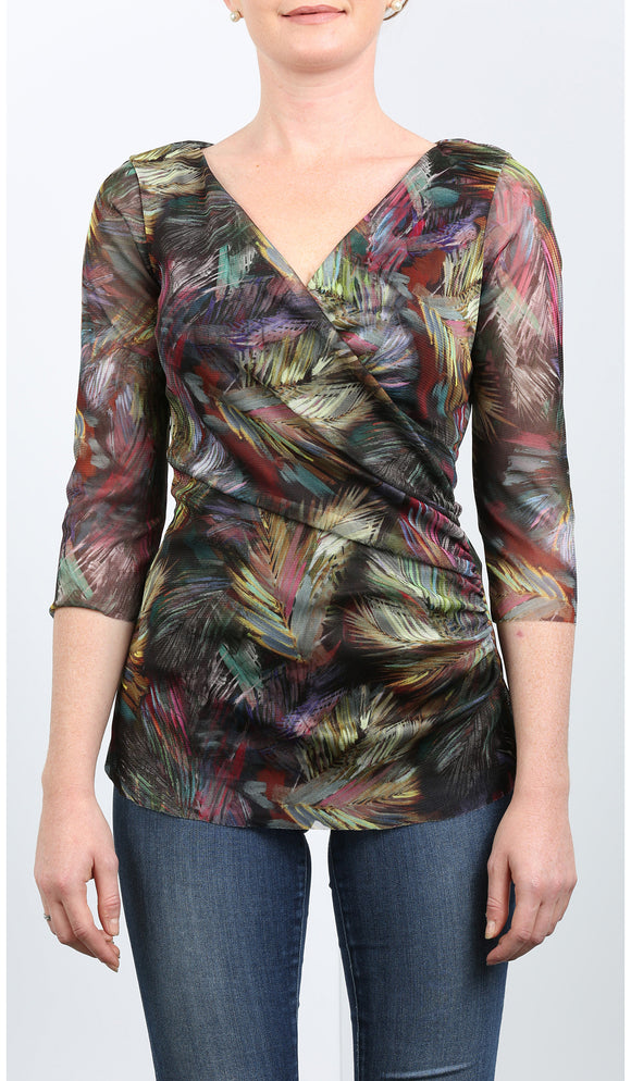 FEDORA Abstract Crossover Top with Ruched Side