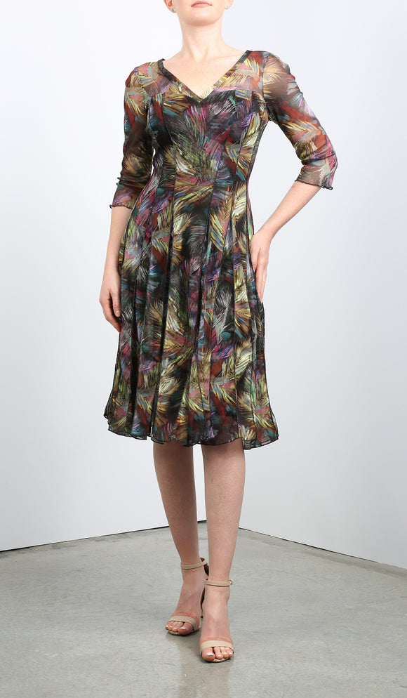 FEDORA Fit and Flare 3/4 Sleeves Paneled Print Dress