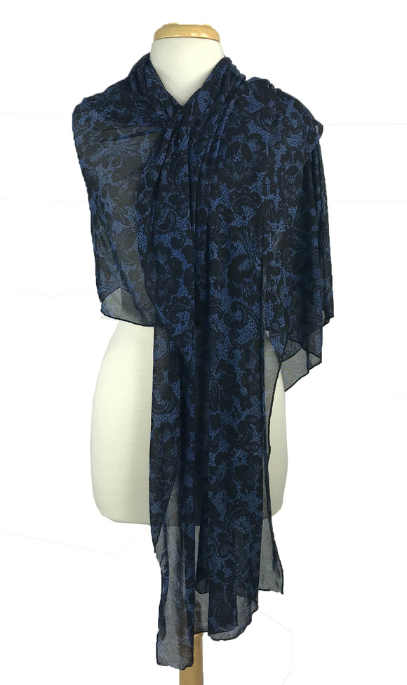 FRANCESCA Long and Wide Sheer Print Shawl Wrap Stole