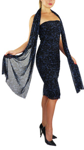 FRANCESCA Strapless Ruched Knee Length Print in Black and Blue Dress