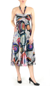 GEO Mid Calf Strapless Print Fit and Flare Trapeze Dress