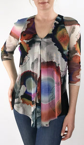GEO V-Neck 3/4 Sleeves Print Mesh Top with Flyaway