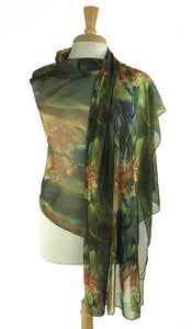 GIGI Long and Wide Sheer Print Shawl