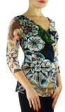 GILLY Abstract Print 3/4 Sleeves Surplice Crossover Top