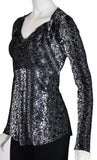 GINA Long Sleeves Cowel Neck Burnout Velvet Empire Tunic Top