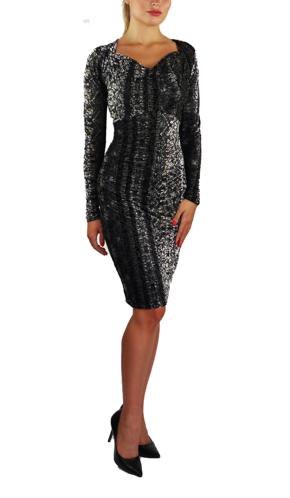 GINA Long Sleeves Cowel Neck Knee-High Burnout Velvet Fitted Dress