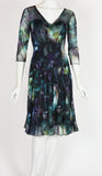 GLENDA Fit and Flare 3/4 Sleeves Paneled Abstract Print Dress