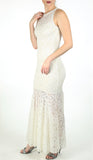 GOLDIE Long Lace Dress Off White