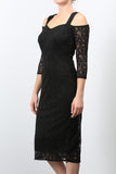 GOLDIE Cold Shoulder Lace Dress Black