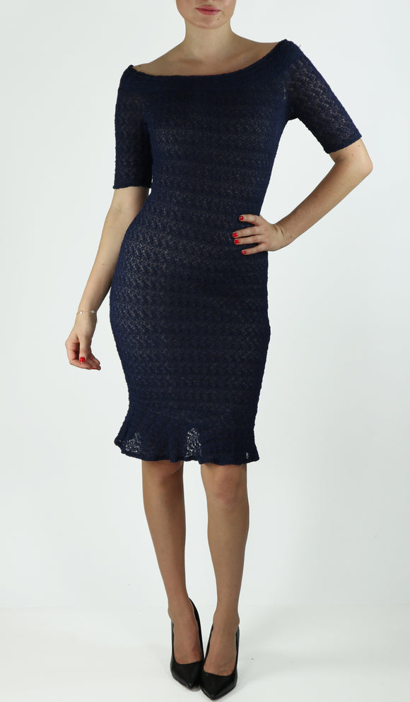 GWYNETH Puckered Off-Shoulder Above Elbow Sleeve Dress Navy