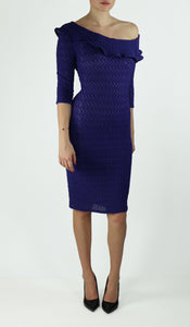 GWYNETH Puckered One-Shoulder 3/4 Sleeve Dress Royal Blue
