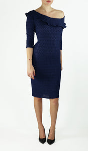 GWYNETH Puckered One-Shoulder 3/4 Sleeve Dress Navy