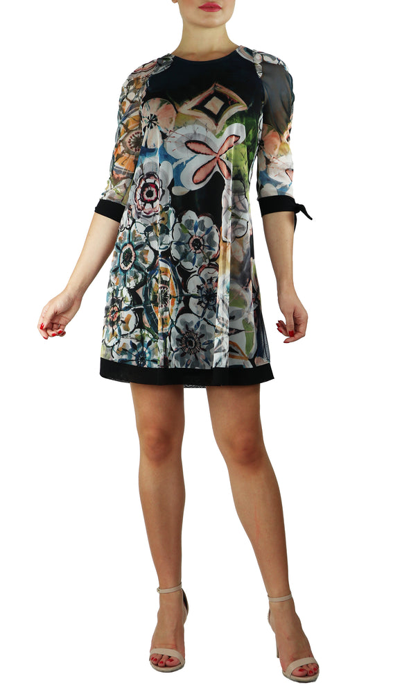 GILLY A-Line Above Knee Length Print Mesh Dress
