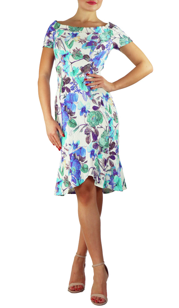 HALINA Textured Floral High-Low Princess Seams Portrait Collar Dress