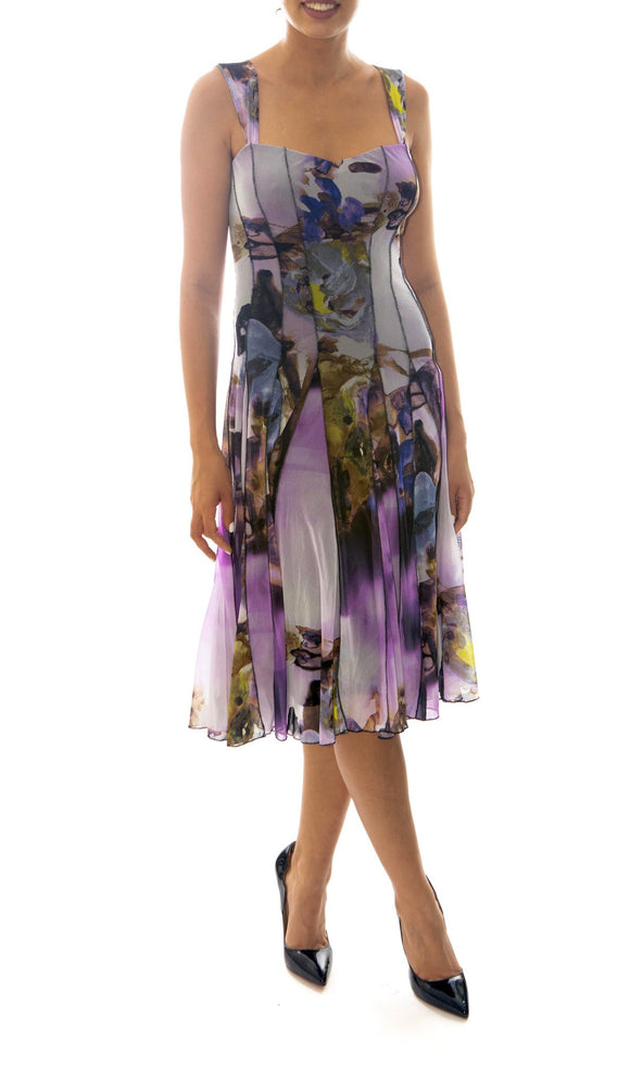 HOPE Sleveless Fit and Flare Floral Print Paneled Dress