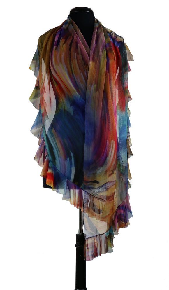 IBIZA Ruffled Long & Wide Sheer Shawl