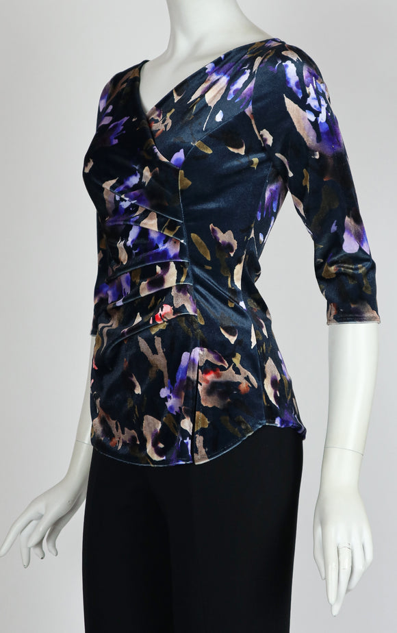 ICELYN Crossover with Ruched Side 3/4 Sleeves Printed Velvet Top