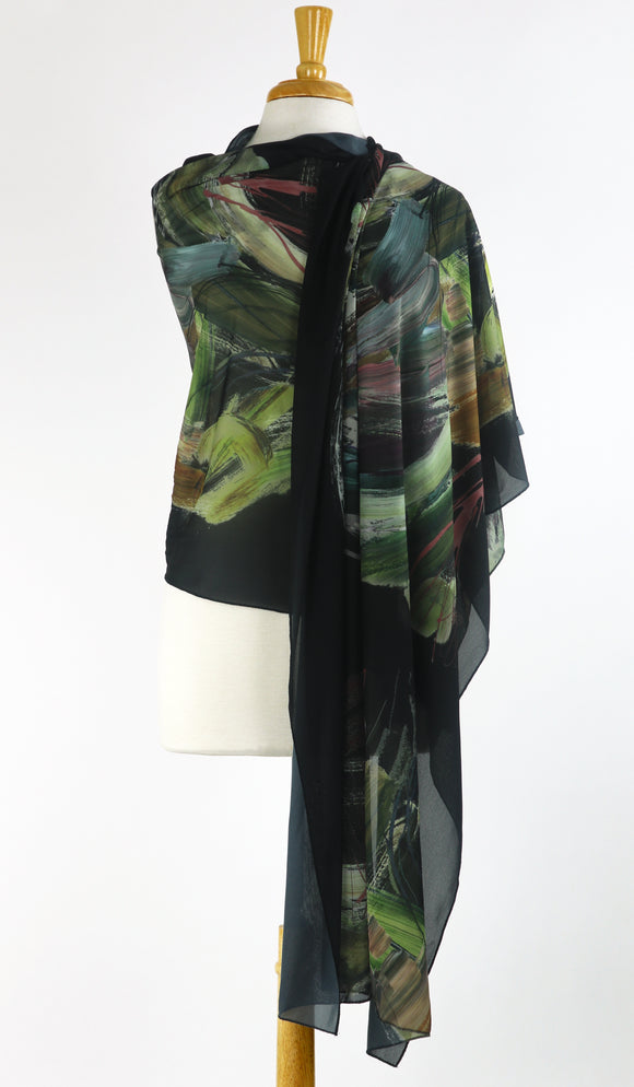 IGONNA Long and Wide Sheer Print Shawl