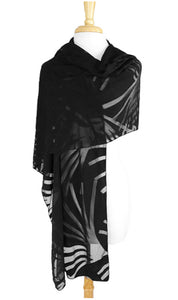 IVY Long and Wide Sheer Black Shawl Wrap Stole