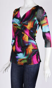 IXIA 3/4 Sleeves Print Surplice Crossover Top