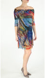 IBIZA Off Shoulder Above Knee 3/4 Sleeve Print Mesh Dress