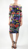 IRIS Off Shoulder Knee Length 3/4 Sleeve Print Mesh Sheath Dress