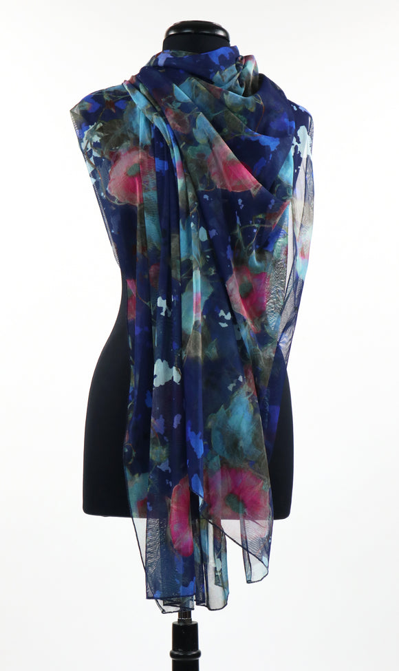 JASMIN Long and Wide Sheer Print Shawl
