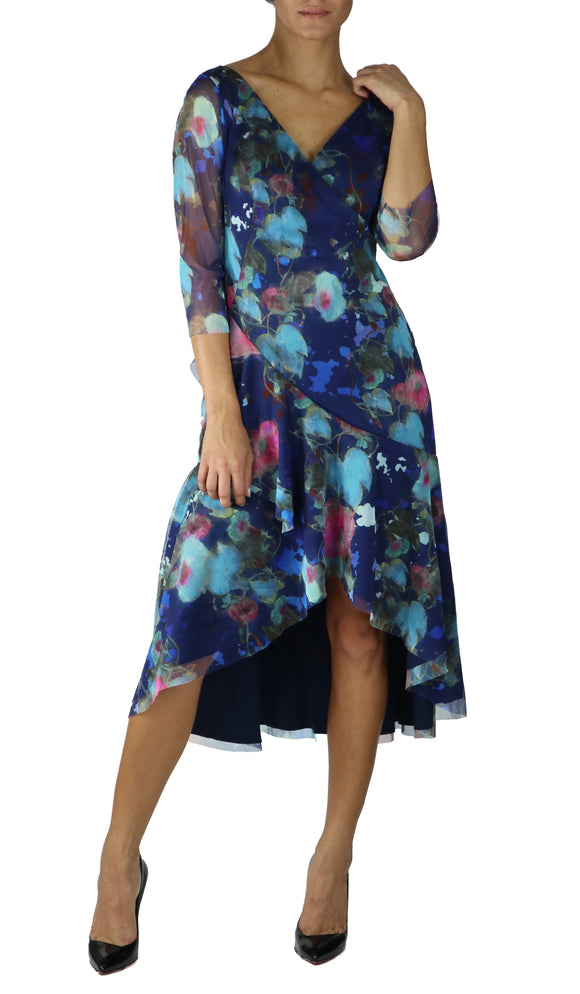 JASMIN Surplice Floral Tango Ruffled Hi Lo Hem Dress