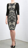 JENNIFER 3/4 Sleeve Princess Paneled Fitted Sheath Dress