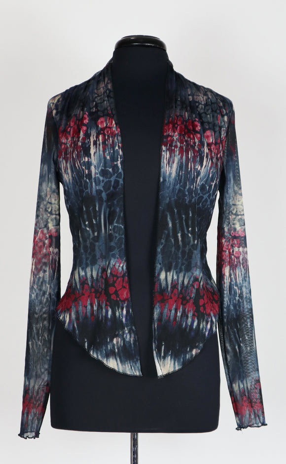 JESSICA Print Sheer Long Sleeve Bolero Jacket