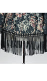 JILLIAN Mid Length Long Sleeves Printed Lace Duster with Fringes
