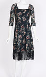 JILLIAN Fit and Flare 3/4 Sleeves Printed Lace Dress with Fringes