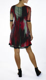 KENDRA Grommets and Ribbon 3/4 Sleeves A-Line Trapeze Dress