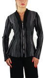 LARA Fitted Long Sleeves Zippered Stretchy Jacquard Knit Jacket