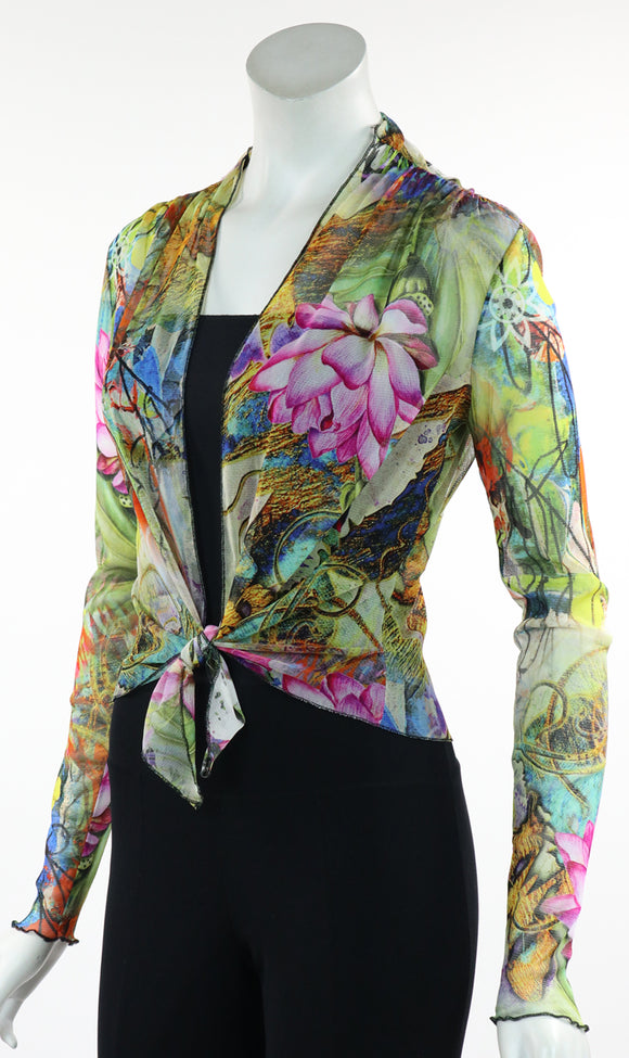 LILY Print Sheer Long Sleeve Bolero Jacket
