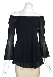 MAXIMA Off-Shoulder Bell Sleeve Top Black