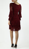 MADELINE LACE BELL SLEEVE A LINE ABOVE KNEE LENGTH DRESS BURGUNDY