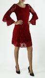 MADELINE LACE BELL SLEEVE A LINE ABOVE KNEE LENGTH DRESS RED