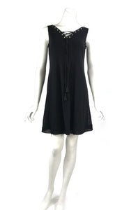 MAXIMA Grommets And Ribbon Sleeveless  A-line Black Trapeze Dress