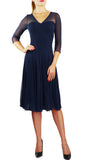 MAXIMA  Fit and Flare 3/4 Sleeves Paneled Dress Navy